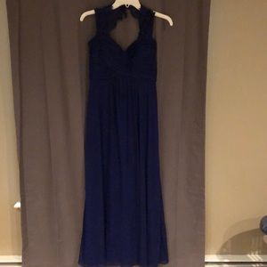 Royal blue long, elegant dress with lace sleeves